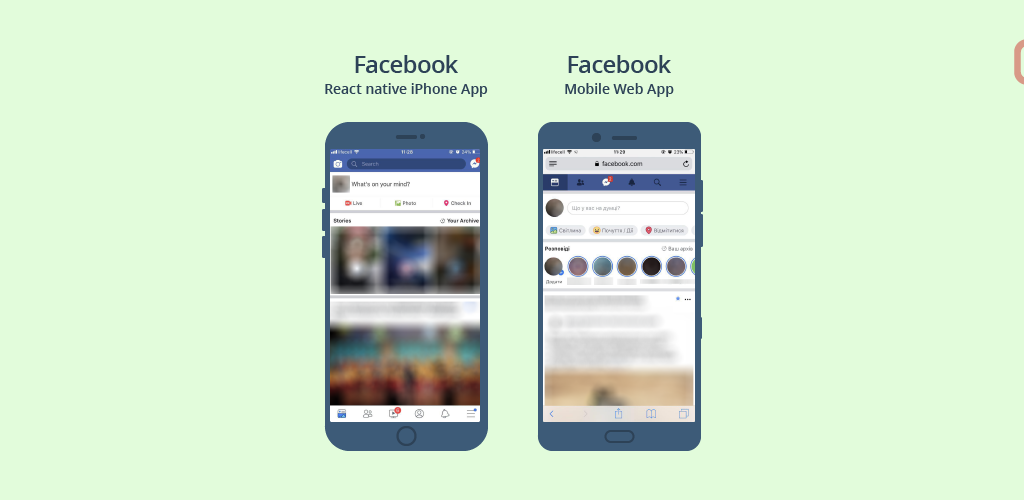 React Native App and Mobile Web App Facebook Examples
