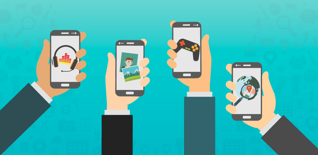Hands Holding Phones with Different App Types