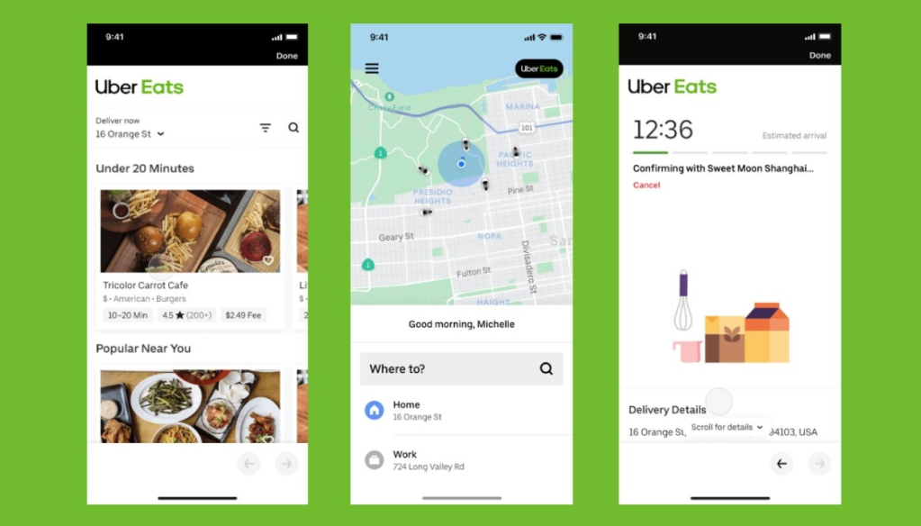 Uber Eats App Screens