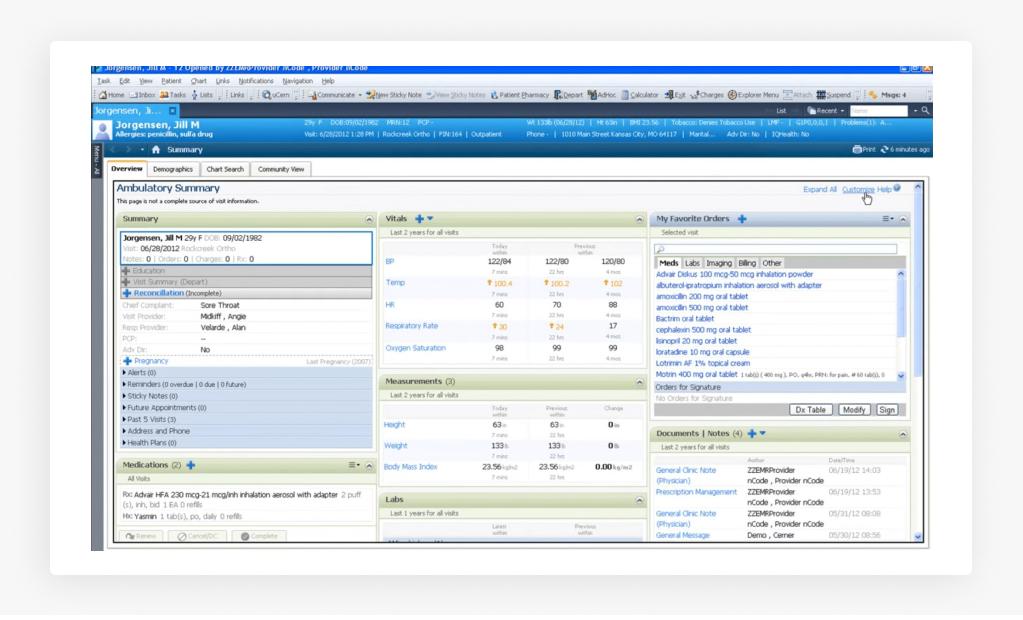 Cerner's Ambulatory Software on Web
