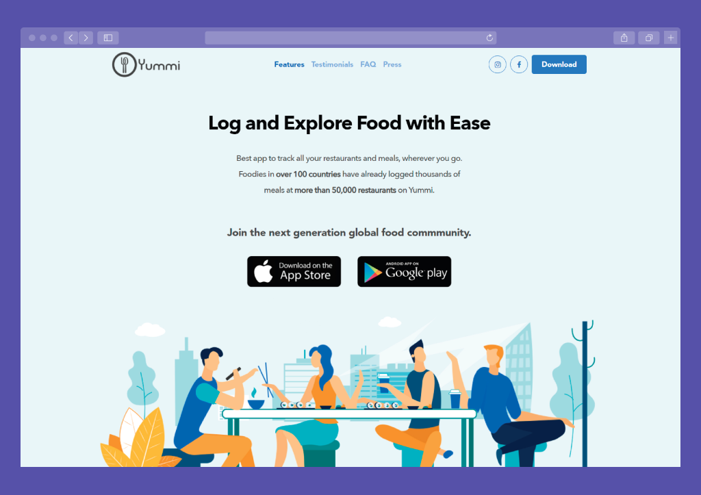 Example of Landing Page: Yummi