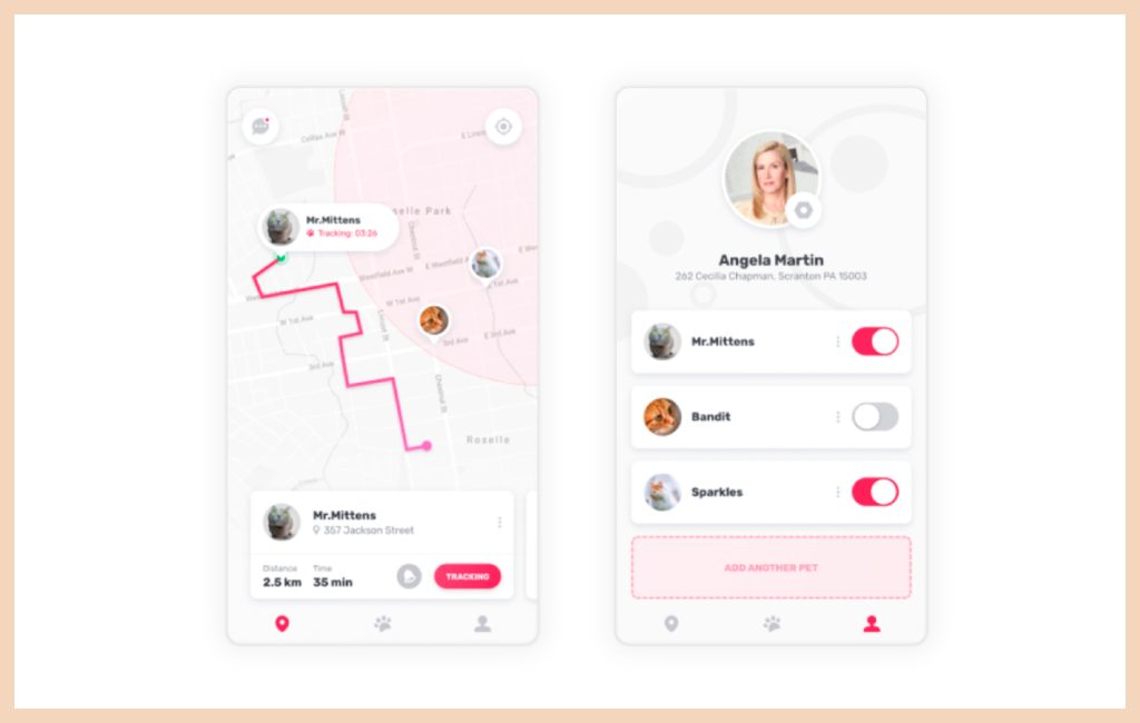 Examples of a Location-based App for Pets