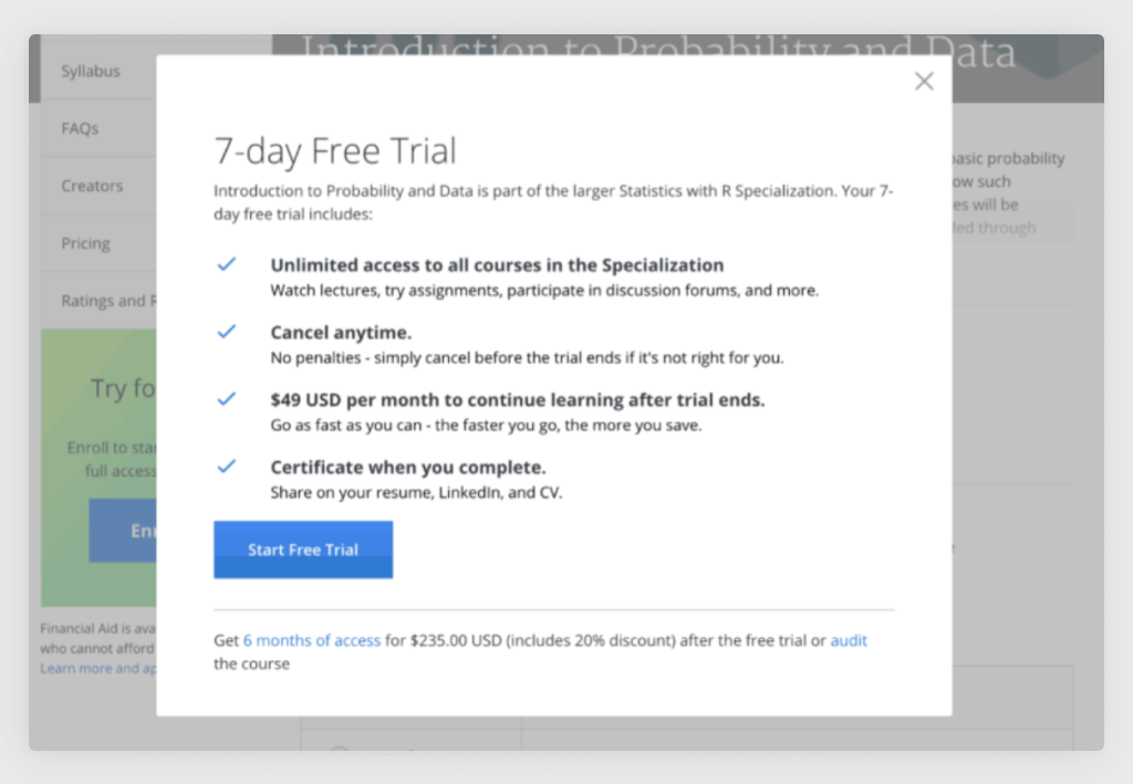 Coursera 7-day Free Trial Screen