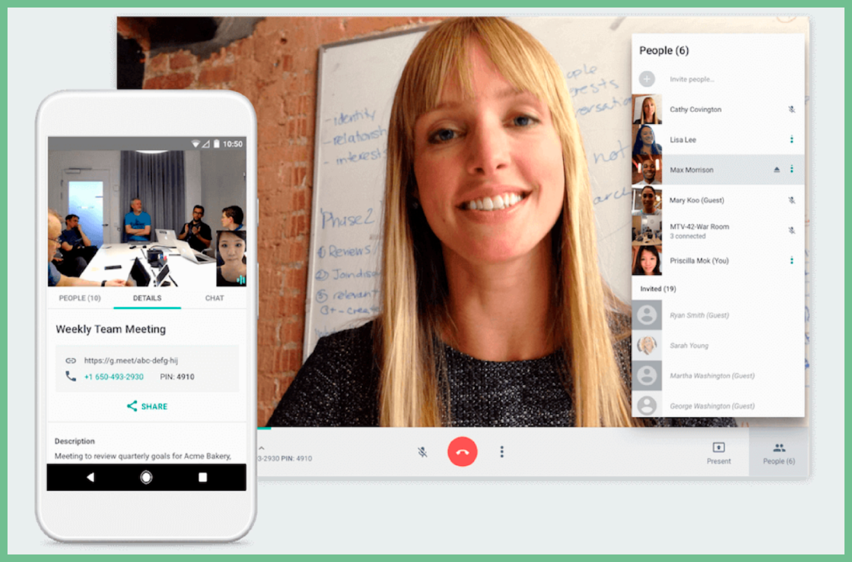 Google Meet Interface on Web and Mobile