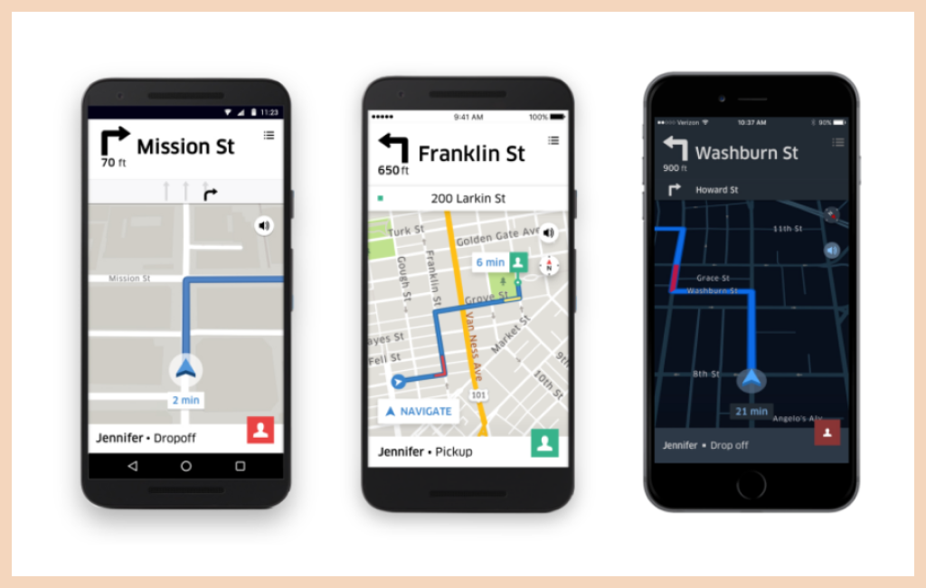 Location-based App: Uber Screens