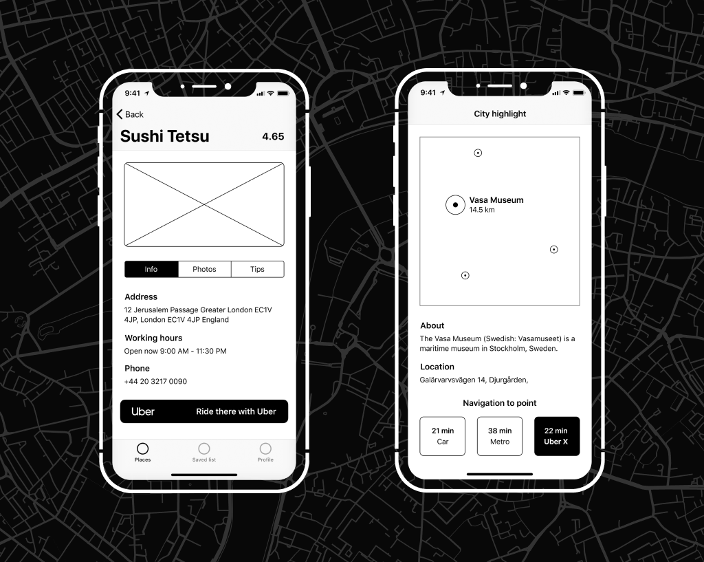 UX Wireframes: Uber Integration to the App