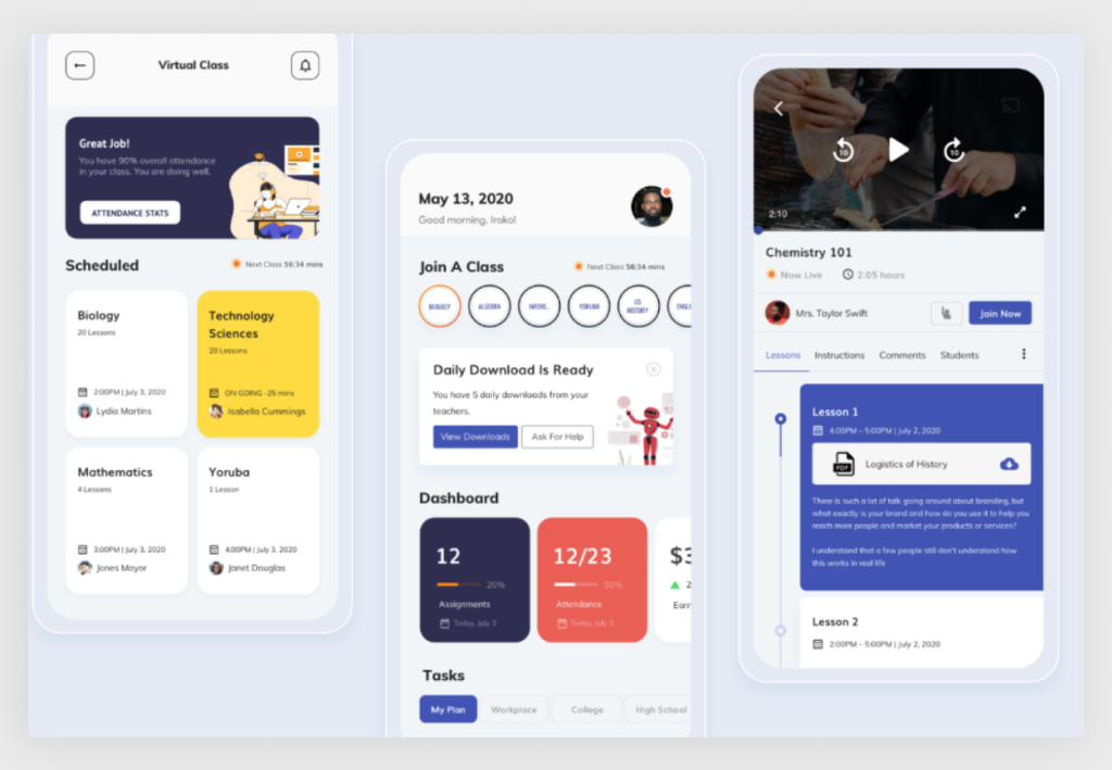 E-Learning App Design Sample (Source: Dribbble)