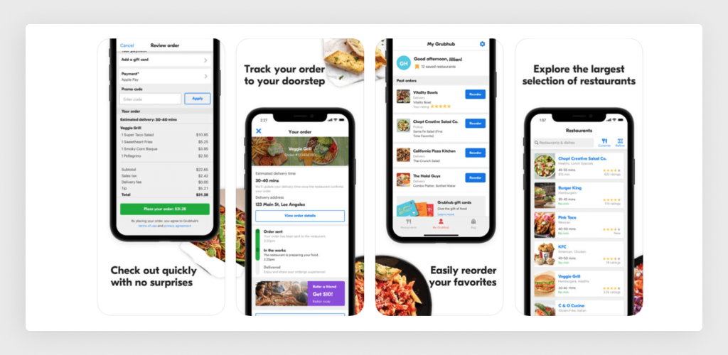 Interface of On-Demand Delivery App: Grubhub
