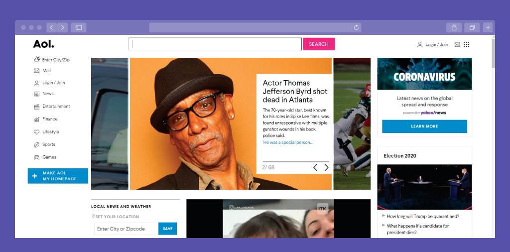AOL News Portal Home Page