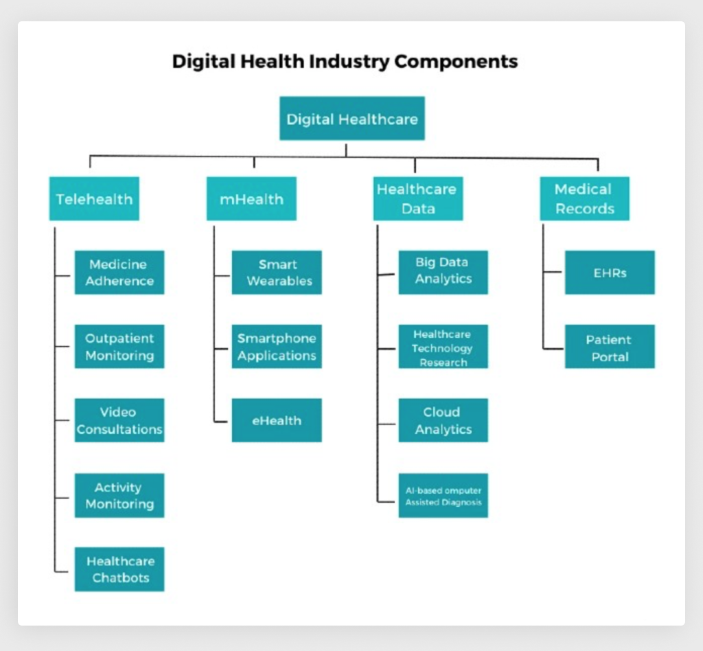 Categories and Components in Digitizing the Healthcare Industry