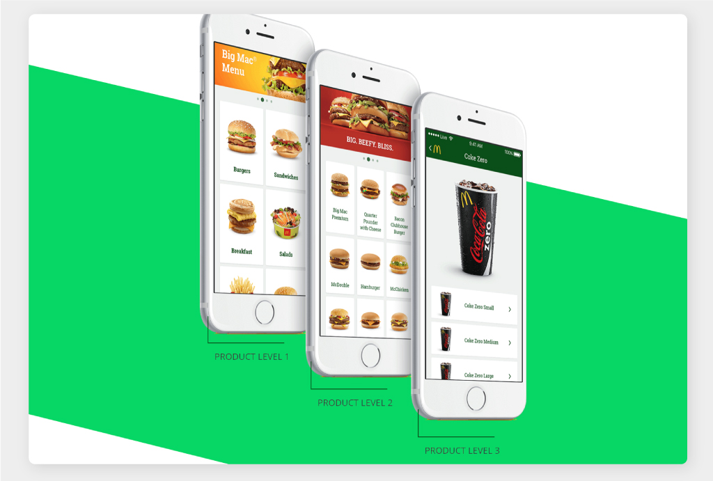 Design Screens of the McDonald's Baltics App