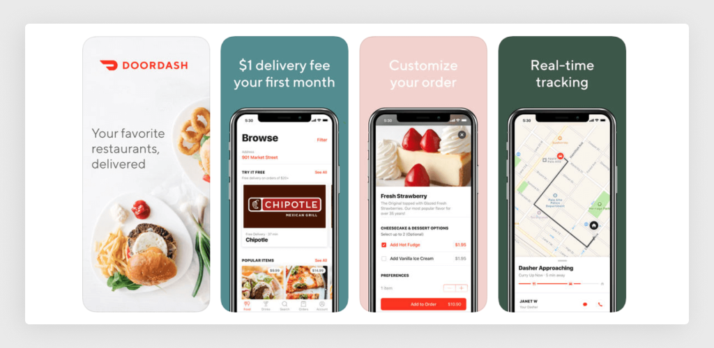 Mobile App Interface of DoorDash Delivery Service