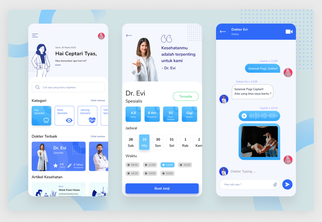 Doctor Booking Functionality Sample (Source: Dribbble)
