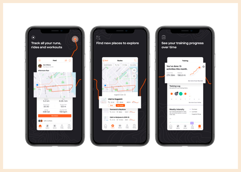 Screens of Strava Fitness App for Running