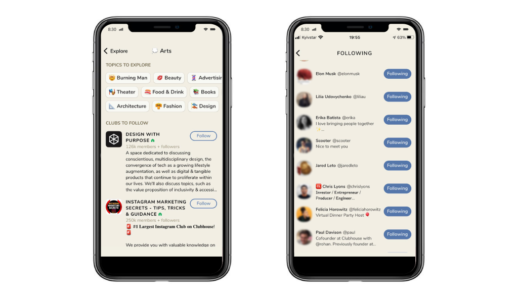 Following Functionality in the Clubhouse App