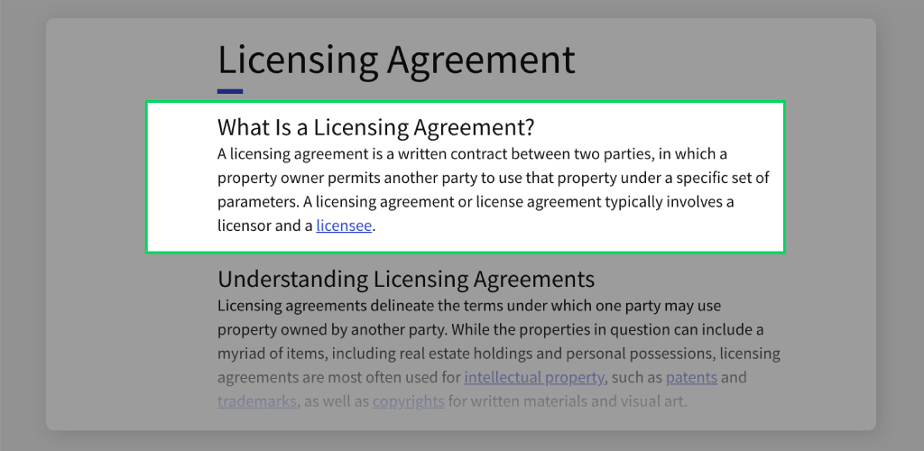 Definition of Licensing Agreement