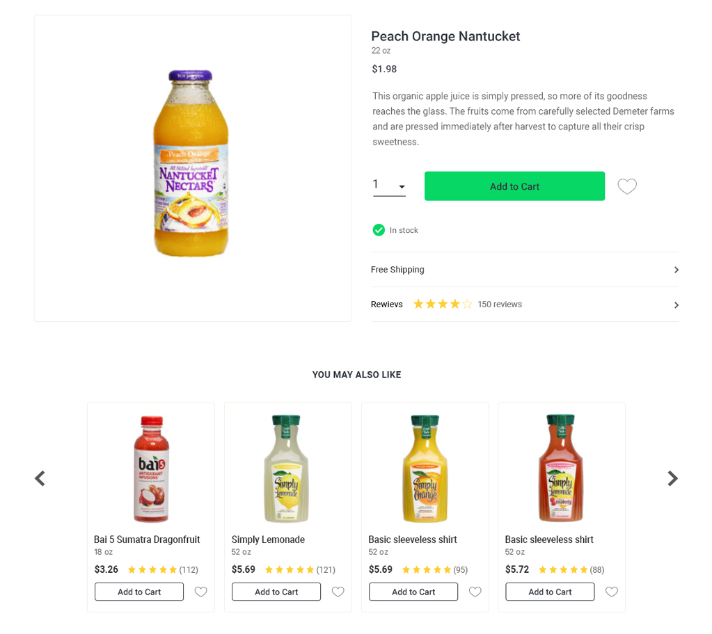 Product Details Page of an eCommerce Website