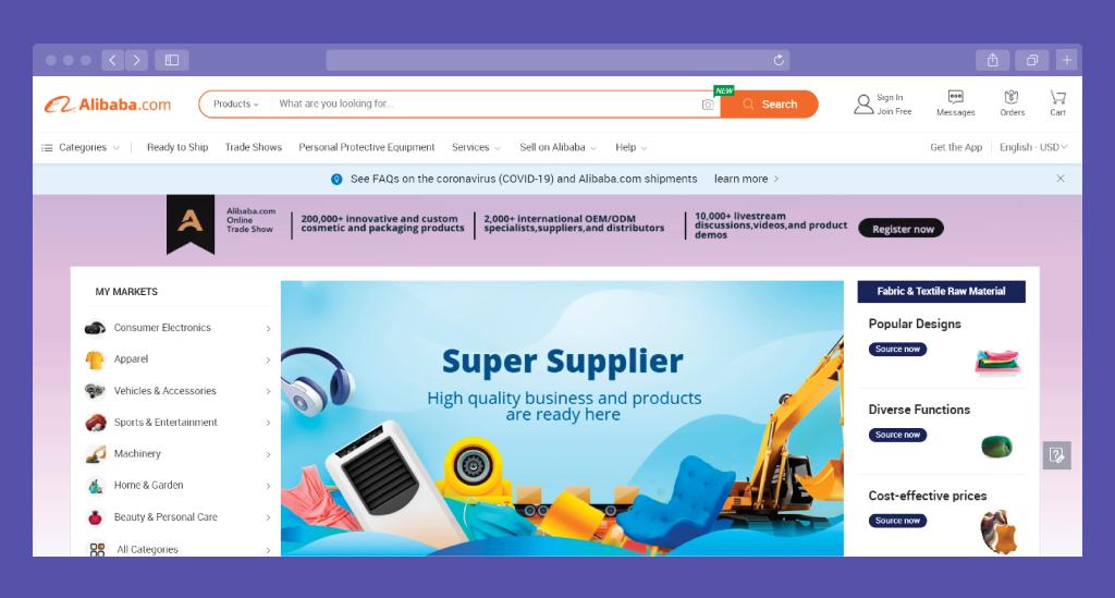 Alibaba: E-Commerce Website Example
