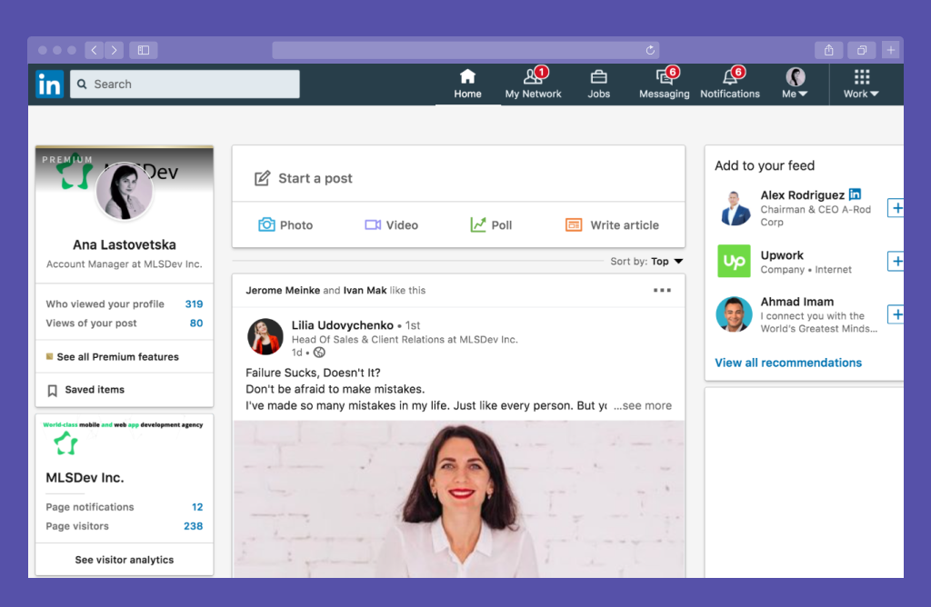 LinkedIn Profile Home Page