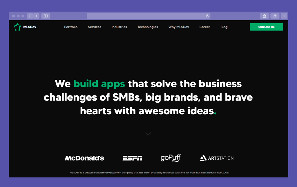 Updated MLSDev Corporate Website: Home Page