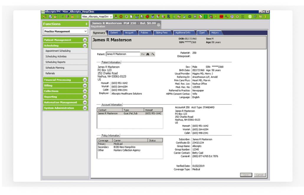 Allscripts Practice Management Solution