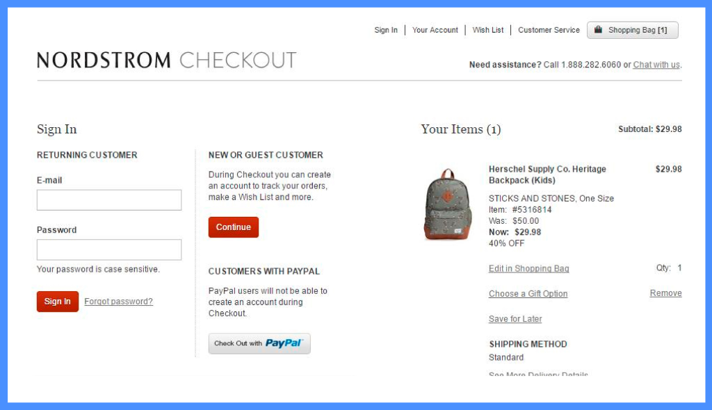 Nordstrom Checkout Example