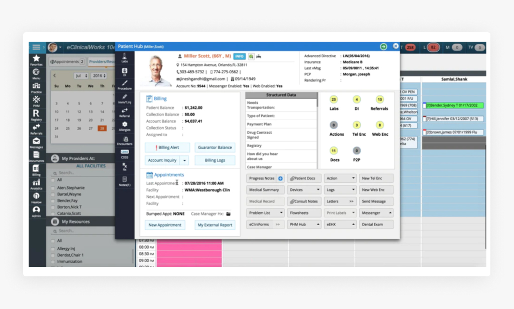 Screens of the eClinicalWorks Software
