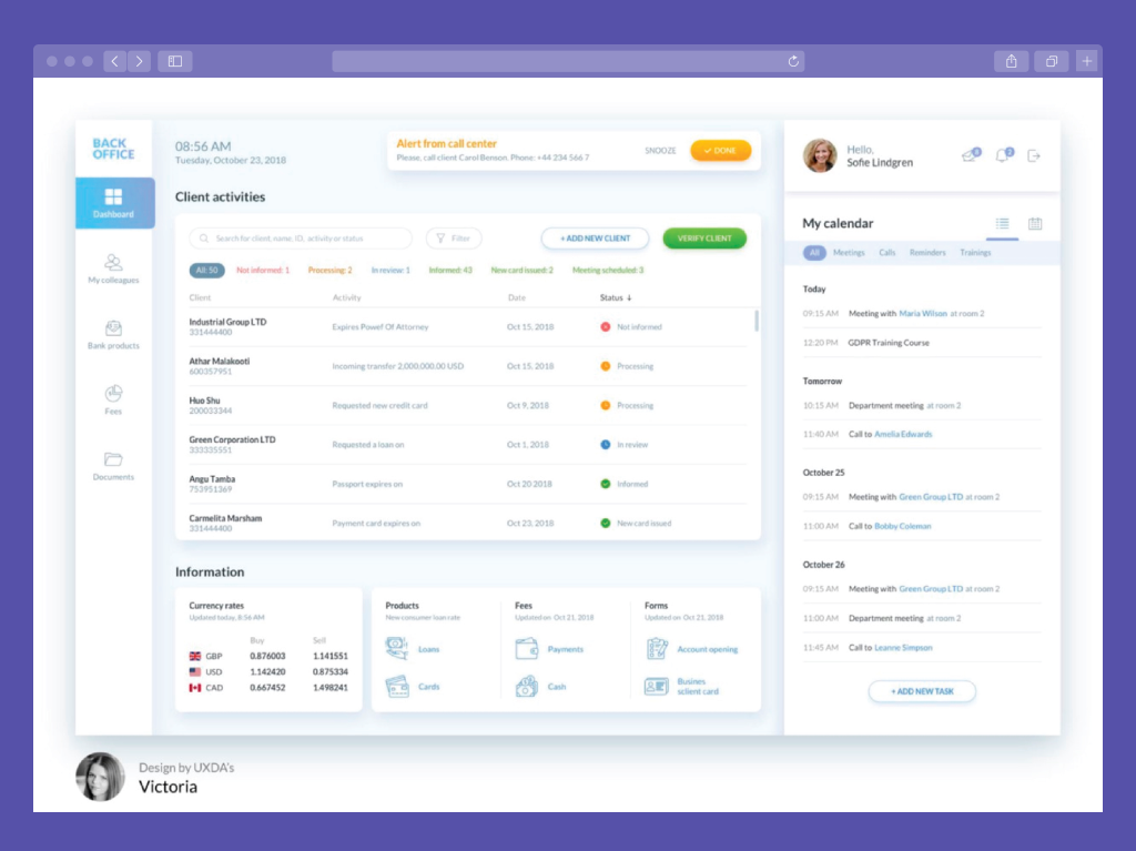 Example of Website Back Office (Source: Dribbble)